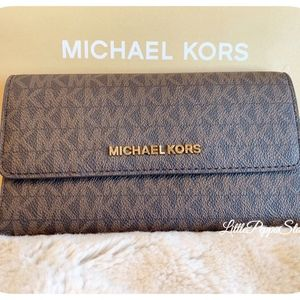 Handbags - MICHAEL KORS BROWN PVC TRIFOLD WALLET NEW